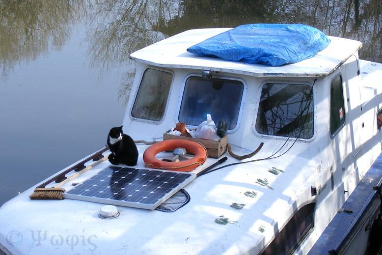 canal boat,cat,solar panel
