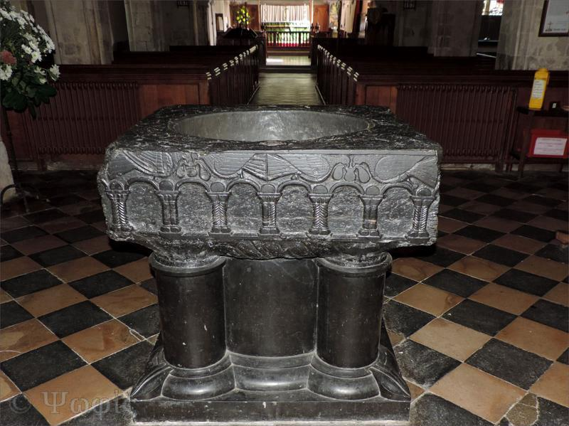 black marble font,St Mary Bourne church