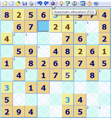 Automatic Sudoku square allocation