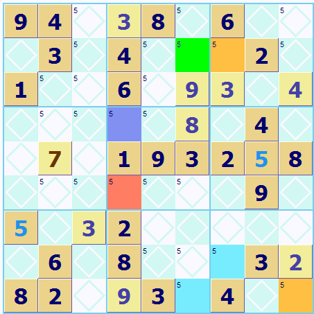 Sudoku Square Color Marking