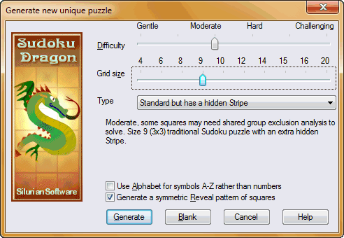 Sudoku Puzzle Generate Options